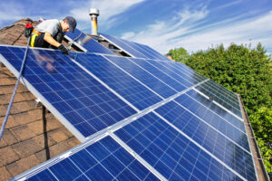 rooftop solar installation on home